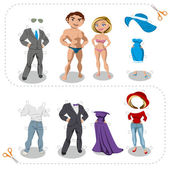 Game cutouts man and woman clothes — Stock Vector