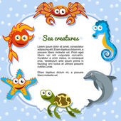 Sea creatures forming a frame — Stock Vector