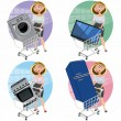Women with appliances in the shopping cart - Stock Vector