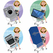 Women with appliances in the shopping cart — Stock Vector