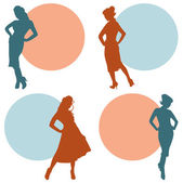 Retro Silhouettes Women — Stock Vector