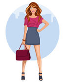 Young woman with miniskirt and heels — Stock Vector