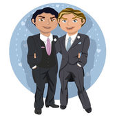 Young gay wedding couple — Stock Vector
