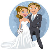 Young wedding couple — Stock Vector