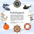 Nautical equipment items forming a frame — Stock Vector