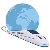 Train running around the world — Stock Vector