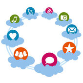 Social icons on the cloud — Stock Vector