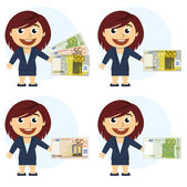 Woman in a suit and money in hand — Stock Vector
