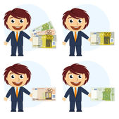 Man in suit and money in hand — Stock Vector