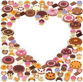 糖果形成一颗心 — 图库矢量图片