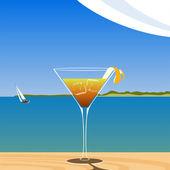 Koktejl na pláži — Stock vektor
