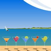 Cocktail op het strand — Stockvector