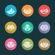 Smiling faces icons — Stock Vector