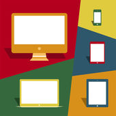 Mobile devices and screens in vintage style — Stock Vector