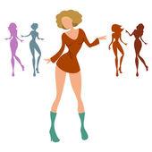 女性のダンス — ストックベクタ