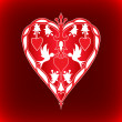 Valentines Day hearts and doves — Stock vektor