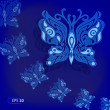 Blue butterflies in the night — Stock Vector