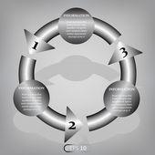Greyscale circular banner template — Stock Vector
