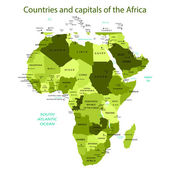 Countries and capitals of the Africa - green — Stock Vector