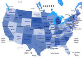 United States map vector - blue — Stockvektor