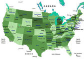 United States map vector - green — Stockvektor