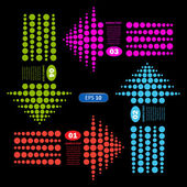 Colored arrows dots from — Stockvector