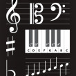 Set of different music notes — Imagen vectorial