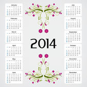 Calendar 2014 - Flower Pattern — Stock Vector