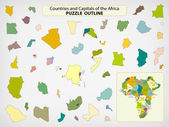 Map of the Africa - puzzle outline — Stock Vector