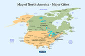 Map of North America - Major Cities — Stock Vector