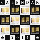 Calendario 2014 - fondo de tablero de ajedrez — Vector de stock
