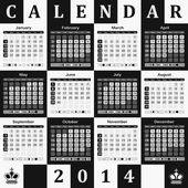 Calendar 2014 - chessboard background — Stock Vector