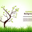Stock Vector: Summer Landscape. Tree on a Background of Green Grass. Vector Illustration