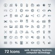 Large Icons Set. 72 Items — Imagen vectorial