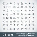 stora ikoner set. 72 artiklar — Stockvektor