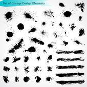 Vector Set of Grunge Design Elements — Stock Vector
