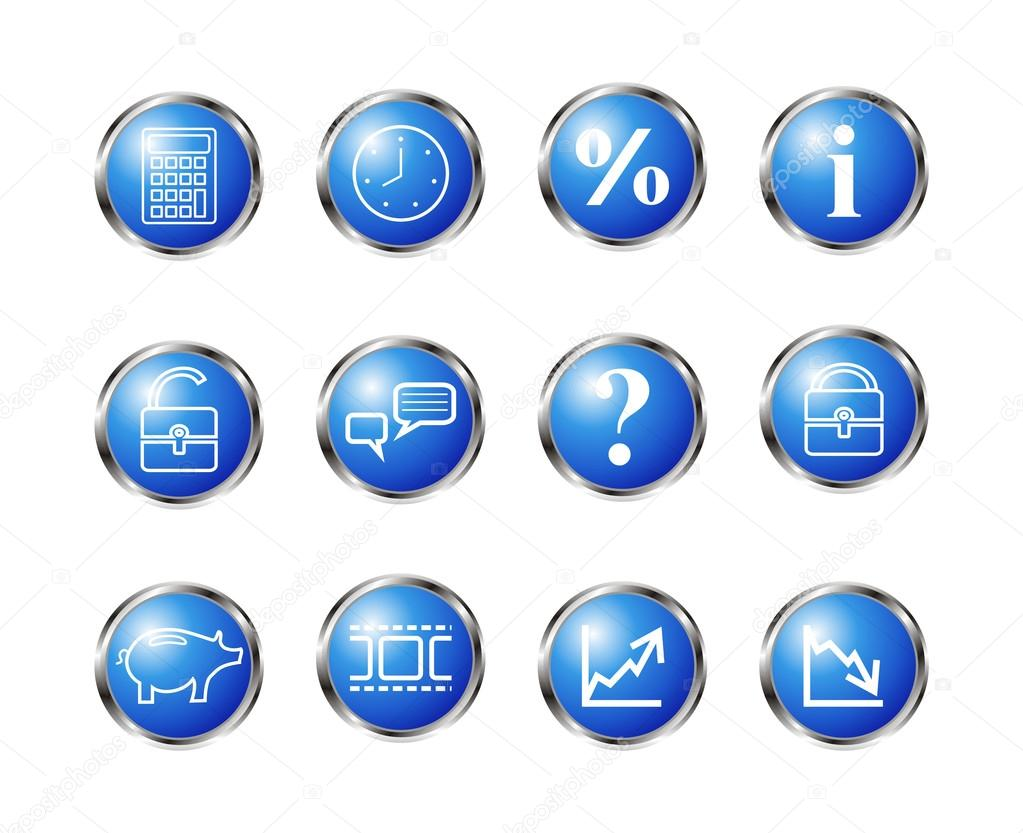 Set of 12 glossy web icons. Blue color. — Stock Vector #16323899