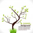 Summer Background of Tree with Green Grass. Vector Design — Stock Vector
