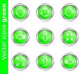 Ikony wektor zielony — Wektor stockowy