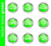 Vector iconos verdes — Vector de stock