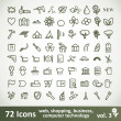 Green large Icons Set. Vector Collection - Stock Vector