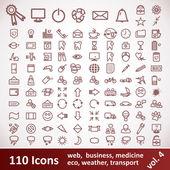 Symbole. großen Satz. 110 Einträge — Stockvektor