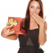 Happy beautiful woman with present box — Stock Photo
