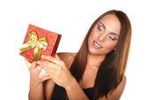 Happy beautiful woman with present box — Stock Photo
