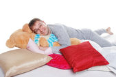 Happy resting father on the pillows — Stock Photo