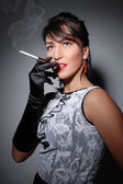 Stylish smoking lady — Stockfoto