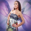 Glamorous butterfly woman — Stock Photo