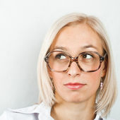 Women in large glasses — Stock Photo