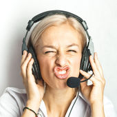Funny face of telephonist — Stock Photo