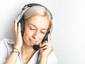 Dreamy mood of telephonist — Stock Photo